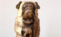 Старый мопс - Деревянная скульптура Владимира Цепляева
