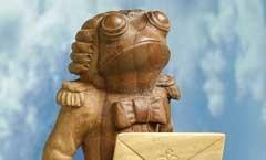 Лягушонок-Посыльный - Деревянная скульптура Владимира Цепляева